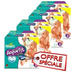 Pampers - Giga pack 272 Couches Active Fit taille 3 sur Les Couches