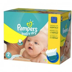 Pampers - Maxi giga pack 330 Couches Baby Dry taille 2 sur Les Couches