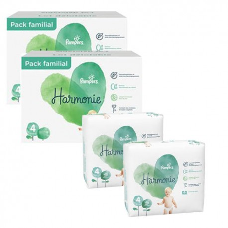 Pampers - Giga pack 252 Couches Harmonie taille 4 sur Les Couches