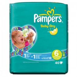 Pampers - Pack 52 Couches Baby Dry taille 6 sur Les Couches