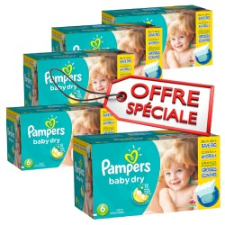 Pampers - Maxi giga pack 312 Couches Baby Dry taille 6 sur Les Couches