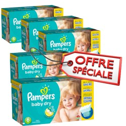 Pampers - Maxi mega pack 416 Couches Baby Dry taille 6 sur Les Couches