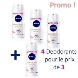 Nivea - 4 Deodorants Sensation Satinée - 4 au prix de 3 taille Pocket sur Les Couches
