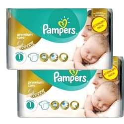 Pampers - Maxi mega pack 418 Couches New Baby Premium Care taille 1 sur Les Couches