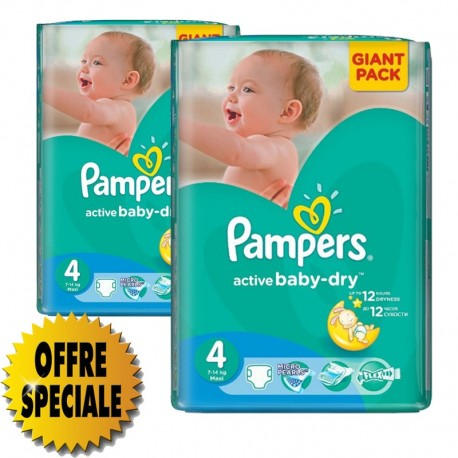 Pampers - Pack 39 Couches Active Baby Dry taille 4 sur Les Couches