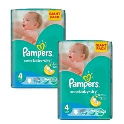 Pampers - Giga pack 208 Couches Active Baby Dry taille 4 sur Les Couches