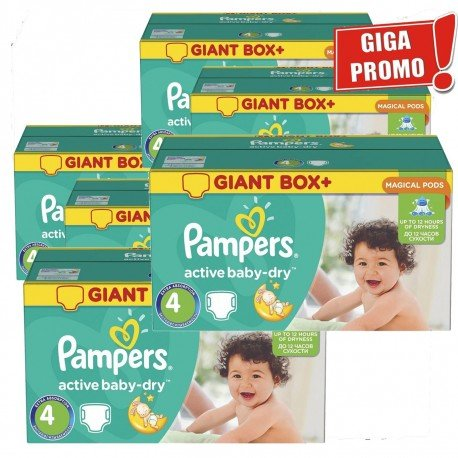 Pampers - Giga pack 273 Couches Active Baby Dry taille 4 sur Les Couches
