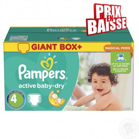 Pampers - Giga pack 286 Couches Active Baby Dry taille 4 sur Les Couches
