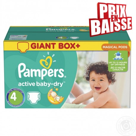 Pampers - Maxi giga pack 338 Couches Active Baby Dry taille 4 sur Les Couches