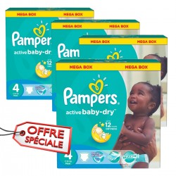 Pampers - Maxi giga pack 390 Couches Active Baby Dry taille 4
