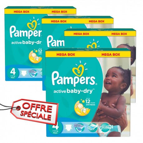 Pampers - Maxi giga pack 390 Couches Active Baby Dry taille 4 sur Les Couches