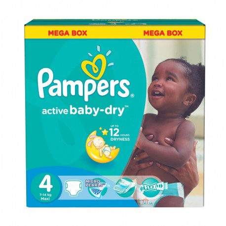Pampers - Maxi mega pack 416 Couches Active Baby Dry taille 4 sur Les Couches