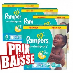 Pampers - Maxi mega pack 494 Couches Active Baby Dry taille 4 sur Les Couches