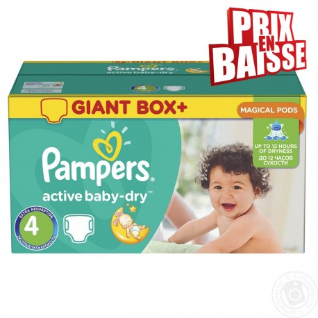 Pampers - Pack jumeaux 611 Couches Active Baby Dry taille 4 sur Les Couches