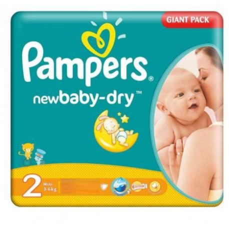 Pampers - 58 Couches New Baby Dry taille 2 sur Les Couches