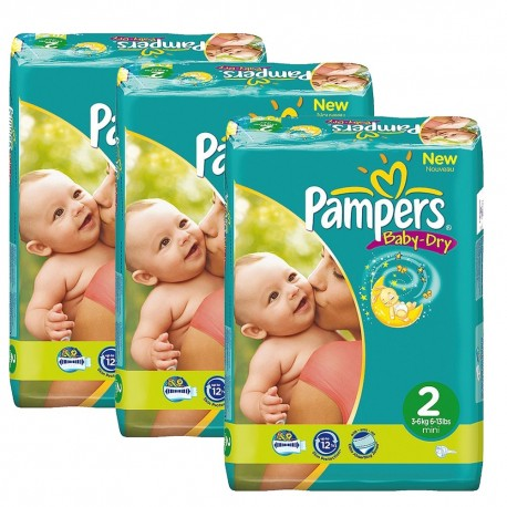 Pampers - Pack jumeaux 825 Couches Baby Dry taille 2 sur Les Couches