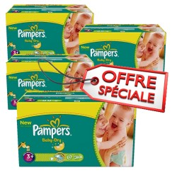 Pampers - 680 Couches Baby Dry taille 3+ sur Les Couches