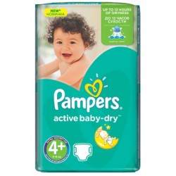 Pampers - 53 Couches Active Baby Dry taille 4+