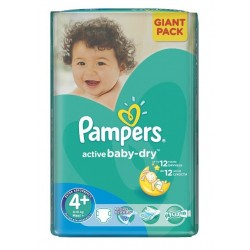 Pampers - 32 Couches Active Baby Dry taille 4+ sur Les Couches