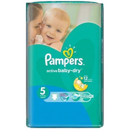 Pampers - 58 Couches Active Baby Dry taille 5 sur Les Couches