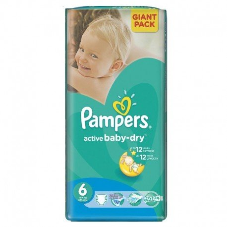 Pampers - 42 Couches Active Baby Dry taille 6 sur Les Couches