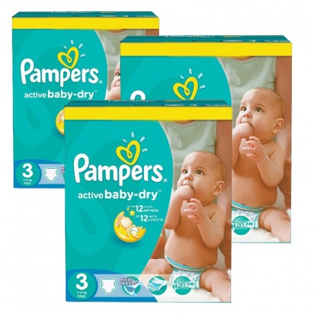 Pampers - 296 Couches Active Baby Dry taille 3 sur Les Couches