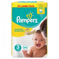 Pampers - 66 Couches Premium Protection 3 sur Les Couches