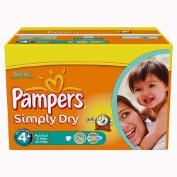 Pampers - Maxi Giga Pack 528 Couches Simply Dry taille 4+ sur Les Couches