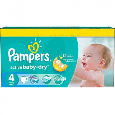 Pampers - Pack 132 Couches Active Baby Dry taille 4 sur Les Couches