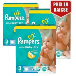 Pampers - Giga Pack 246 Couches Active Baby Dry taille 3 sur Les Couches