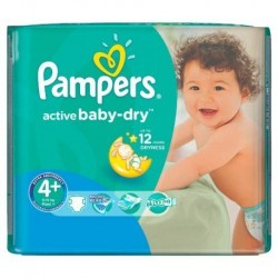 Pampers - Paquet 18 Couches Active Baby Dry taille 4+