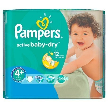 Pampers - Paquet 18 Couches Active Baby Dry taille 4+ sur Les Couches