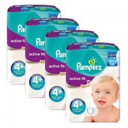 Pampers - Giga pack 282 Couches Active Fit taille 4+ sur Les Couches