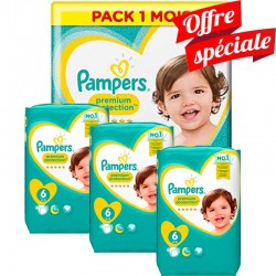Pampers - Maxi Giga Pack 480 Couches Premium Protection - New Baby taille 6 sur Les Couches