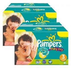 Pampers - Mega Pack Jumeaux 408 Couches Baby Dry taille 3 sur Les Couches
