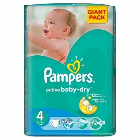 Pampers - Pack 90 Couches Active Baby Dry taille 4 sur Les Couches