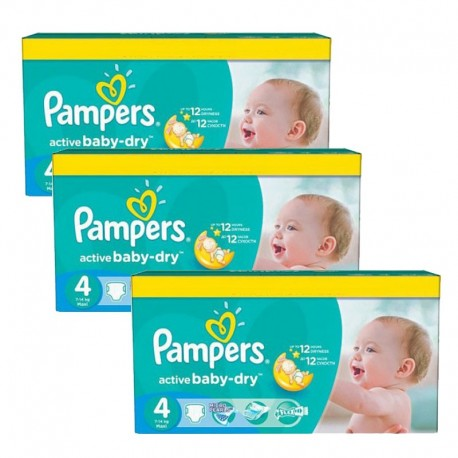 Pampers - Mega Pack 360 Couches Active Baby Dry taille 4 sur Les Couches
