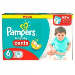 Pampers - Pack 64 Couches Baby Dry Pants taille 6