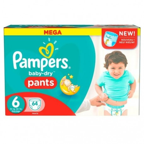 Pampers - Pack 64 Couches Baby Dry Pants taille 6 sur Les Couches