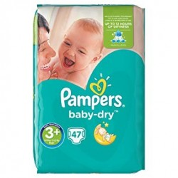 Pampers - Pack 47 Couches Baby Dry taille 3+