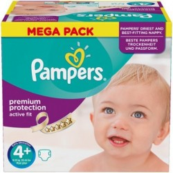 Pampers - Pack 62 Couches Active Fit taille 4+ sur Les Couches