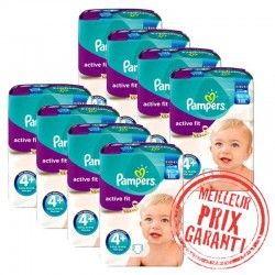Pampers - Giga Pack Jumeaux 620 Couches Active Fit taille 4+ sur Les Couches