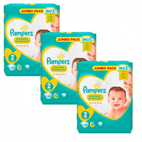 Pampers - Maxi Pack 204 Couches New Baby - Premium Protection taille 2 sur Les Couches