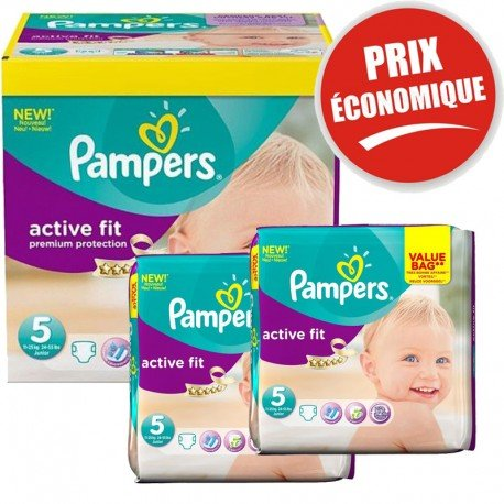 Pampers - Maxi Giga Pack 376 Couches Active Fit taille 5 sur Les Couches