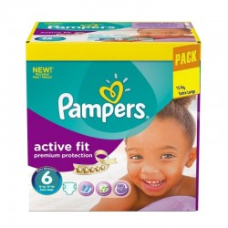 Pampers - Pack 120 Couches Active Fit - Premiun Protection taille 6 sur Les Couches