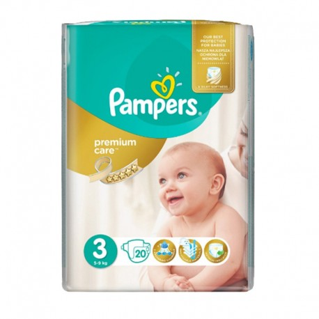 Pampers - Pack 20 Couches Premium Care - Prima taille 3 sur Les Couches