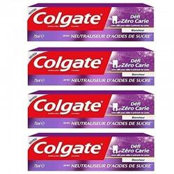 Colgate - Lot 4 Dentifrices Blancheur Defi Zero Carie sur Les Couches