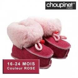 Chaussons bébé en Agneau Mérinos 16-24 MOIS Couleur ROSE sur Les Couches