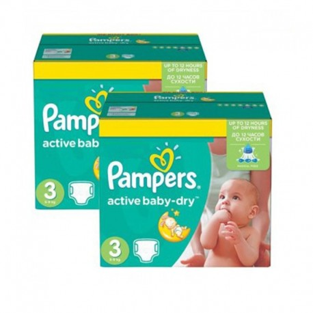 Pampers - Pack 108 Couches Active Baby Dry taille 3 sur Les Couches
