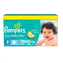 Pampers - Pack 96 Couches Active Baby Dry taille 4+ sur Les Couches